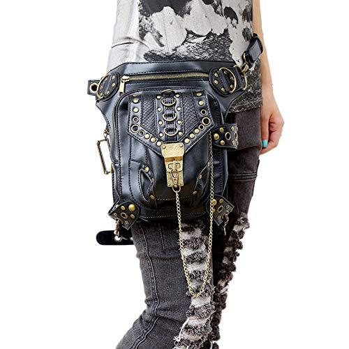 Retro Rock Oberschenkeltasche Vintage Gothic Punk Bag Pack Wasserdichter Gürtel für Wandern Camping Bike Outdoor Sport Taschen Banane
