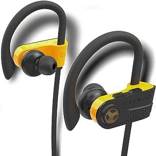 TREBLAB XR700 - Top 2019 Bluetooth Wireless Earbuds - Bluetooth 5.0 IPX7 Waterproof Sports Headphones, Adjustable Earhooks, Rugged Workout Earphones, Noise Cancelling Microphone in-Ear (Black-Orange)