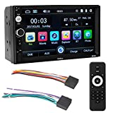 Terisass Car Double Din MP5 Player 7 Inch Touch Screen Player Stereo FM Radio Car Music Video Receiver with Colorful Backlight Remote Control Operation Support Storage Device of U Disk TF Card