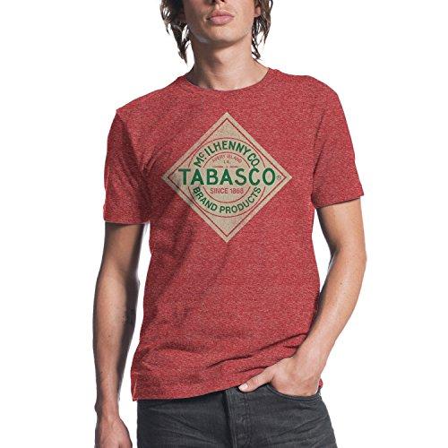 Haunted Flower Tabasco Logo Herren T-Shirt, Rot meliert - Rot - Klein