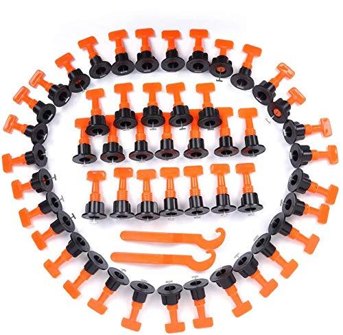 HOTOOLME Fliesen-Nivelliersystem, Fliesenausgleichsgerät, 100 Stück wiederverwendbare Fliesen Abstandshalter mit Spezial-Schraubenschlüssel, für Bauböden, Wände