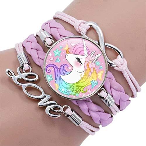 SUNMUCH Cute Unicorn Bracelet Wristband Handmade Rainbow Jewelry Infinity Love Charm Gifts Birthday Gift Best Friends
