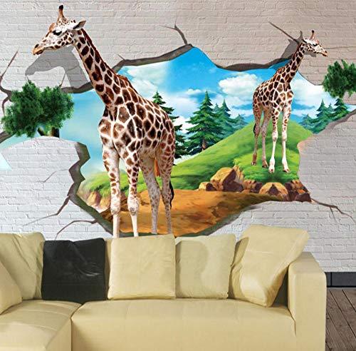 Pbbzl Individueel fotobehang 3D stereoscopische giraffe Brick Wall kinderkamer behang fotografie achtergrond fotobehang 150 x 120 cm.