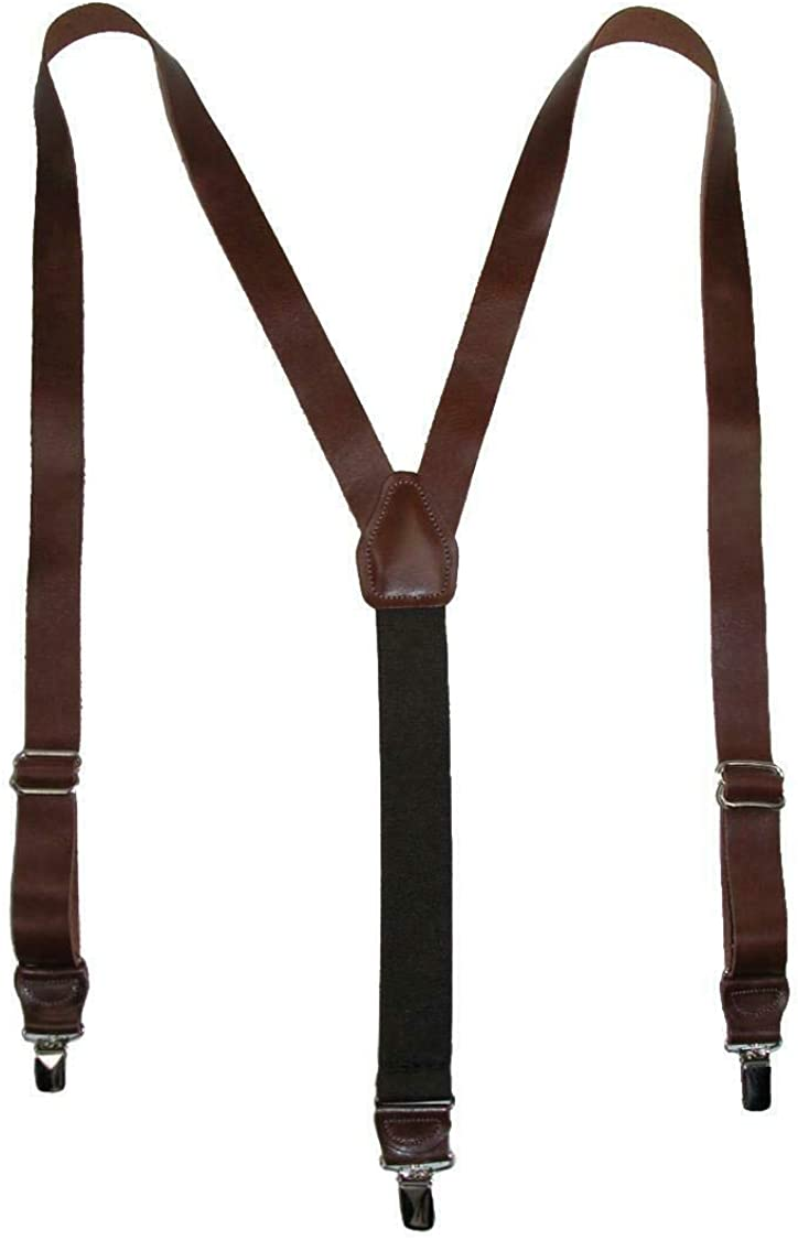 1 Pcs Men's Coated Leather Clip-End 1 Inch Suspenders (Brown)