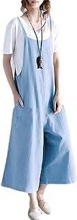 XINHEO Women Overalls Loose Wide Leg Cotton/Linen Bib Pants Playsuit