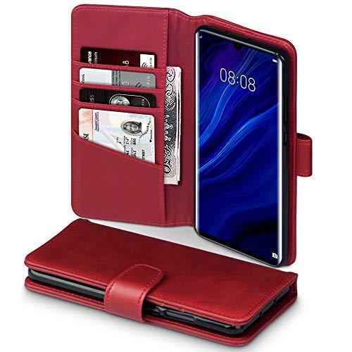 TERRAPIN, Kompatibel mit Huawei P30 Pro Hülle, [ECHT Leder] Brieftasche Hülle Tasche mit Standfunktion Kartenfächer & Bargeld - Rot