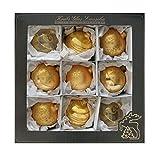 Krebs Glas Lauscha Weihnachtsdeko Gold/Satin-Gold, Glaskugelsortiment 10cm, mundgeblasen, Christbaumkugeln