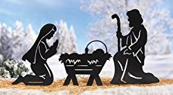 3 Pc Nativity Scene Silhouette Display Christmas Outdoor Decor Yard Stake Set