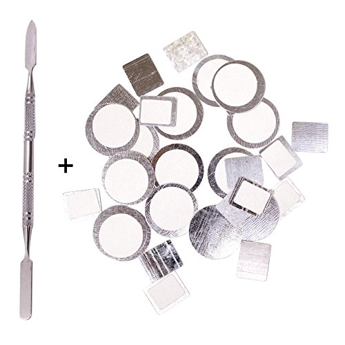 160pcs Palette Metal Stickers Kit for Empty Magnetic Makeup Palettes + Depotting Spatula - DIY Custom Organizational Stickers For Non Magnetized Eyeshadow Pans (80pcs Round + 80pcs Square)