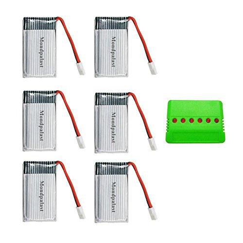 Mondpalast @ Lipo Batterie 3,7V 850mAh x6+ 6 in 1 Batteria Caricabatterie per RC radiocomandato Drone Quadricottero Quadcopter Syma X5 x5C x5C-1 X5SC X5SW