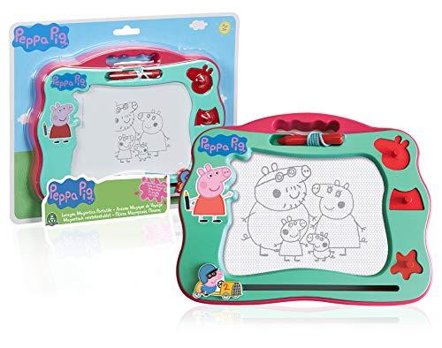 Peppa Pig, Pizarra mágica, Formato de Viaje, dibuja y borre con bolígrafo magnético, 3 Sellos, Juguete para niños a Partir de 3 años, PPC91 (GIOCHI PREZIOSI PPC91000)