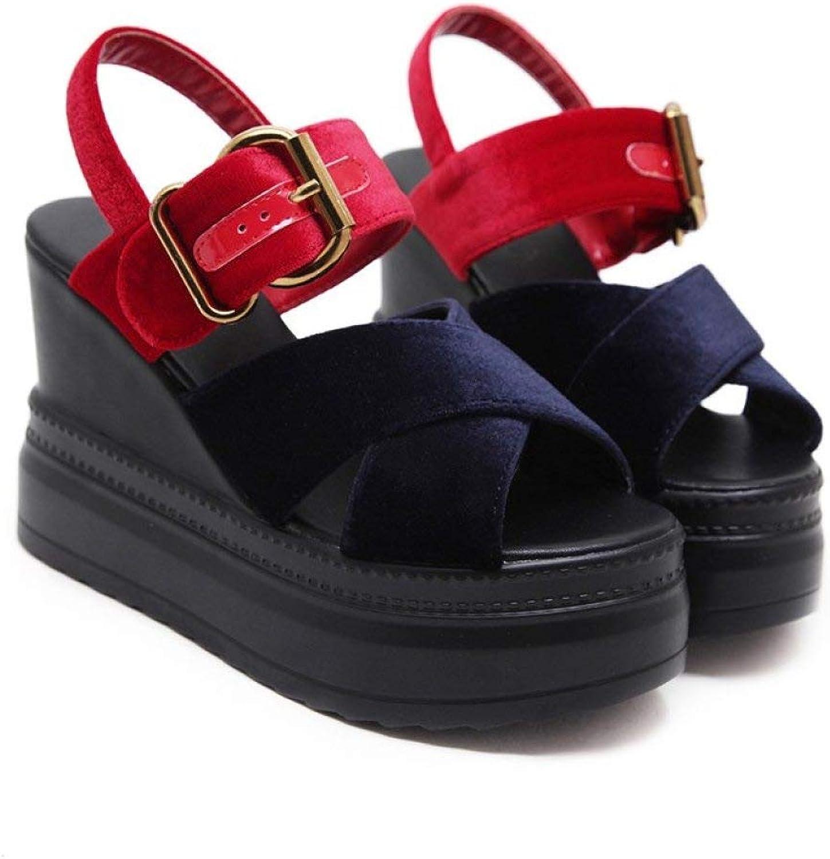 MEIZOKEN Womens Crisscross Wedges Fashion Patchwork High Heels Ankle Strap Suede Platform Slide Sandals