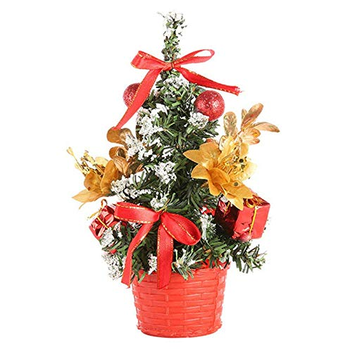 N / A 30cm Mini Christmas Tree Xmas Artificial Tabletop Decorations Festival Miniature Tree Home Room Desktop Ornaments Children Gifts-Red_China
