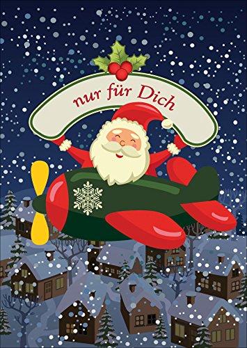 Kartenkaufrausch Mooie kerstkaart met envelop met Santa in het vliegtuig: alleen voor jou • als mooie wenskaart met Kerstmis aan het einde van het jaar voor familie en bedrijf