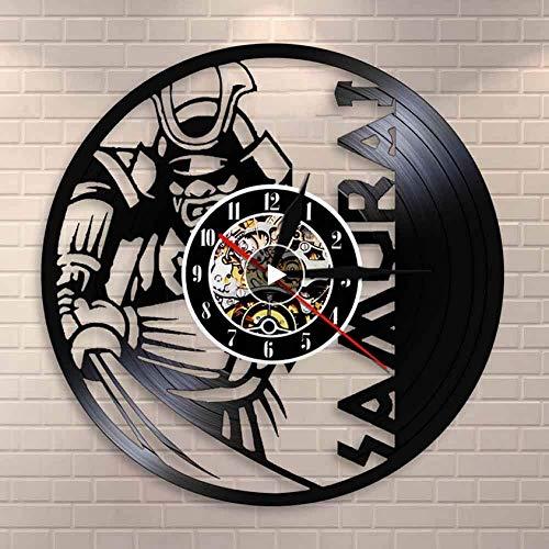 Wanduhr Aus Vinyl Japanische Krieger Wandkunst Wanduhr Samurai Vintage Schallplatte Uhr Bushido Wall Decor Janpanese Kultur Enthusiasten Geschenk 30 cm Io041