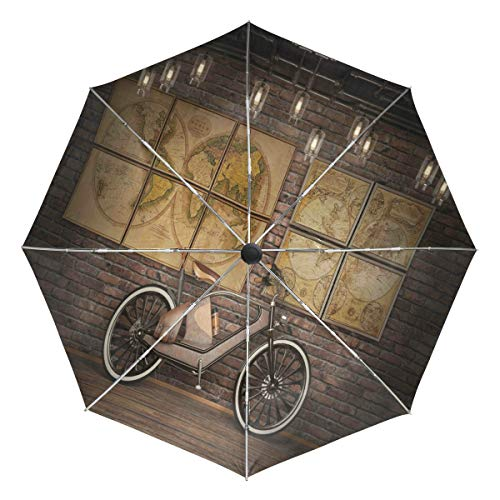Wamika Regenschirm im Vintage-Stil, automatischer Steampunk-Stil, mit Weltkarte, Winddicht, wasserdicht, UV-Schutz, 3-Fach faltbar, automatisches Öffnen/Schließen, für Sonne und Regen