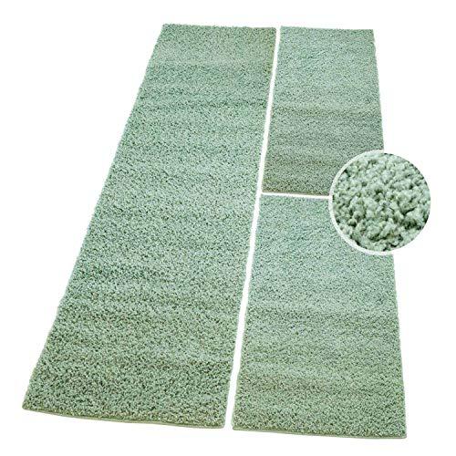 Bettumrandung Teppich Fine Shaggy Hochflor Flokati Wohnzimmer Günstig Weiß 2x70x140 cm & 1x 70x250 cm