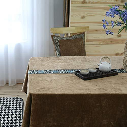 LMDY Home Decoration Tischdecke Braun Samt Chinesisch Klassisch Esstisch Tischdecke Rechteckiger Haushalt Einfarbig Klassische Couchtischdecke Braun 130 * 180CM