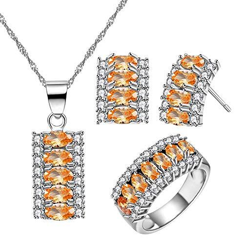Chapado en platino con circonita cúbica de corte ovalado de 7 piedras, collar, pendientes y anillo de media luna fiesta conjunto de joyería T502