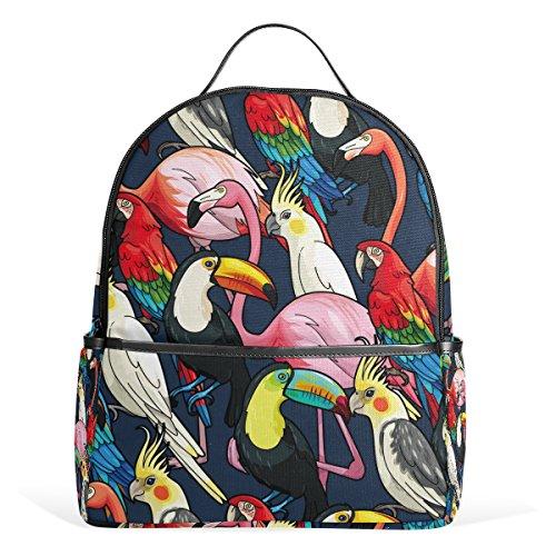 My Daily Tropical Birds Flamingo Pappagallo Zaino per Ragazzi Ragazze Scuola Libreria