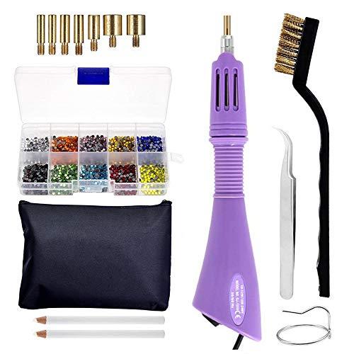 Junenoma Hotfix applicator, dazzler kit met DIY Hotfix strasssteentjes met 7 tips, pincetten reinigingsborstels, waxstiften en strasssteentjes voor kleding schoenen en tas