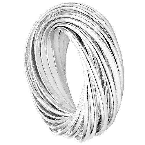 Vinani Multi 3er Ring Wickelring massiv glänzend beweglich Sterling Silber 925 Dreierring Größe 62 (19.7) 2R3N-62