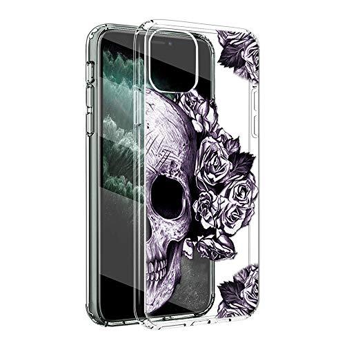 Yoedge Klar Silikon Hülle für iPhone 12/iPhone 12 Pro 6.1Zoll Handy Hülle Stylische TPU Handyhülle Transparente Schutzhülle & Stilvoll Muster Handyhülle Bumper Handyhüllen Handyskins - Schädel