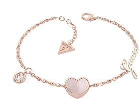 Guess UBB79023-S Stainless Steel Zircon Embellished Logo Detail Heart Shape Pendant Chain Bracelet - Rose Gold