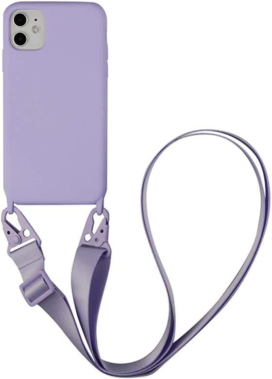 TY-Box Portable Necklace Silicone Phone Cover Compatible with iPhone 12 Model, Soft Cell Phone Protective Cover+Adjust Crossbody Lanyard Case for iPhone 12 Mini 5.4 inch (Purple, 12 Mini)