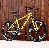 Adulti Mountain Bike, Biciclette Giovanile Città degli Studenti Road Racing, Doppio Freno a Disco off-Road Neve Biciclette, 26 Biciclette Pollice Ruote Beach,Giallo,21 Speed