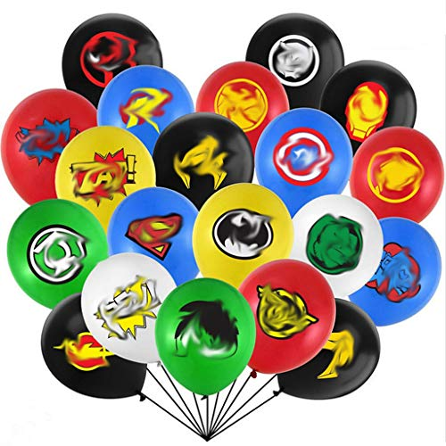 Generisch 32 Stück Superheld Luftballons, 12 Zoll Latex Luftballons mit Comic-Bilder und Slogans, Happy Birthday Dekoration, Avengers Party Dekorationen