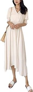 Women Short Sleeves Wrap Lapel Neck Bohemian Party Maxi Dress