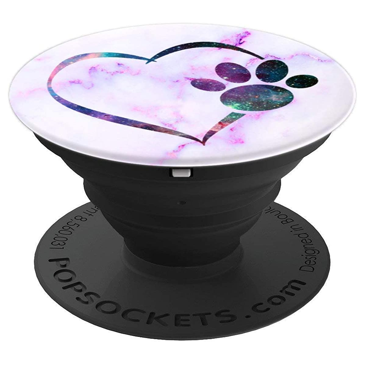 Heart Paw Print Dog Galaxy Marble Pattern - PopSockets Grip and Stand for Phones and Tablets