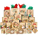Christmas Bags for Gifts, 84 PCS with 28 Christmas Bags, 28 Gift Tags and 28 Tissue Paper, 4 Different Sizes, 2XL, 6 Large, 10 Medium, 10 Small, 16 Designs for Holiday Wrapping