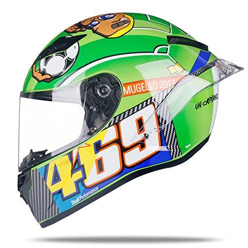 Woljay Full Face Motorcycle Helmet Racing Helmet Motocross Off Road Moto Street Bike Helmets (M, 469 Green)