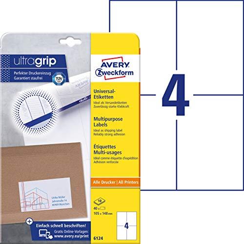 AVERY Zweckform 6124 Universal Etiketten (mit ultragrip, 105 x 148 mm auf DIN A4, Papier matt, bedruckbar, selbstklebend, 40 Klebeetiketten auf 10 Blatt) weiß