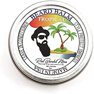 REAL BEARDED MEN 100% Natural Premium Beard Balm 2 oz - Tropical - Made in USA