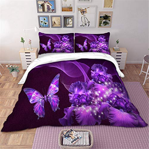 3 Pieces Purple Duvet Cover Set Double 3D Butterfly Star Floral Printed Bedding Quilt Duvet Cover with Zipper Closure for Girls, Ultra Soft Microfiber Bedding 200X200cm