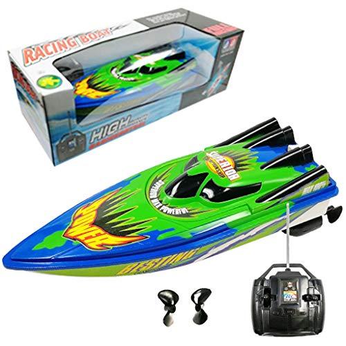Bixmox Ferngesteuertes Auto Boote RC Boot Schnell Boot High-Speed Racing Boot mit Starker Kraft Geschenk für Anfänger Kinder (Grün)