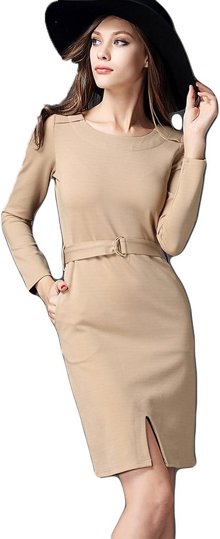 WintCO Women Dresses Round Collar Long Sleeve Slim Split Pure color Dress