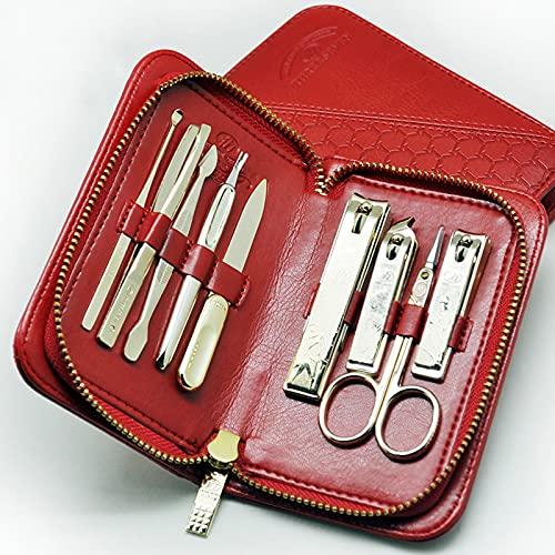 Manicura Pedicura Set Conjunto de manicura para adultos, kit de pedicuras de cortañas kit de manicura de acero inoxidable con estuche de viaje de cuero mejor opción de regalo (marrón 11 piezas / rojo