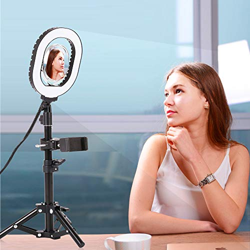 """7×6"""" Selfie Ring Light,Dimmable USB Desktop lighting with Adjustable Stand & Cell Phone Holder for Live Stream/Makeup, for Vlog, YouTube Video/Photography, Compatible with iPhone Android (oval)"""