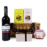Luxury Sweet & Savoury Red Wine and Food Hamper Presented in a Wicker Basket - Gift ideas for Mum, Mothers Day, Dad, Fathers Day, Birthday, Anniversary, Corporate and Business, Christmas
