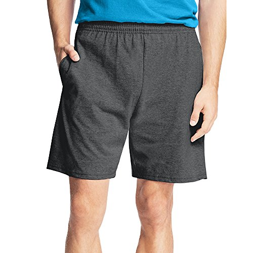 Hanes by Men's Jersey Cotton Shorts_Charcoal Heather_L