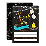 Backyard Birthday Bonfire Camping-Themed Thank You Notes for Boys, Ten 4' x 5.5' Fill In The Blank Cards with 10 White Envelopes by AmandaCreation