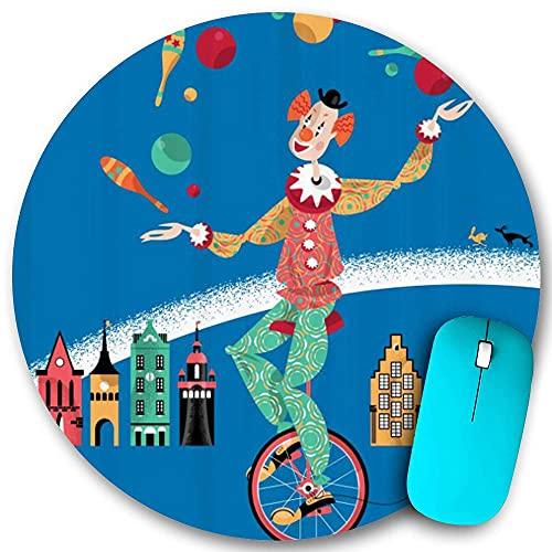 Rundes Mauspad, Clown auf einem Einrad Jonglieren mit Bällen Häuser auf dem Hintergrund Retro-Muster, rutschfeste Gummibasis Office Home Mauspads Klein 7,9x7,9 in Gaming Mouse Mate
