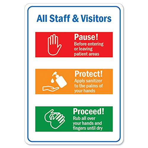 Coronavirus (COVID-19) - All Staff & Visitors | Aluminum Sign | Protect Your Business, Municipality, Home & Colleagues | Made in The USA, 10' X 7' Aluminum, Model Number: OS-NS-A-710-25565