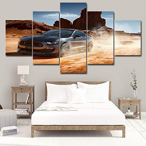 YUANJUN 3D Leinwanddrucke,Modulare Wandkunst Wandaufkleber,5 Teiliges Wandbild,Mit Rahmen,Größe 150 X 80 cm Leinwandbild, Wandbilder XXL Luxusauto Bilder Ford Mustang Auto Poster
