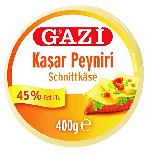 Gazi Kashkaval Schnittkäse - 2x 400gramm Vakuum - Kasar Peyniri Hartkäse Kuhkäse Käse aus Kuhmilch 45% Fett i.Tr. als Pizzabelag, zum Überbacken von Aufläufen, vegetarisch, glutenfrei, Halal