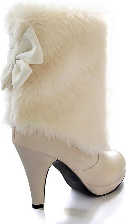 1TO9 Ladies Stiletto Platform Spun gold Bowknot Imitated Leather Boots